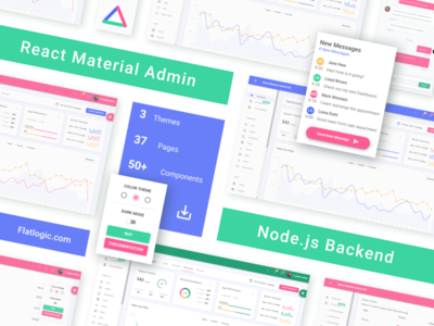 React Material Admin with Node.js Backend interface ui article ux graphic design blog web material design material react node.js nodejs backend frontend webdev