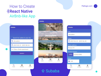 How to Create React Native AirBnb-like App app developer webdevelopment react native react web ui design interface illustraion article ux ui graphic design design blog