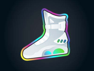 McFly sticker rebound vector illustration shoe neumorphic neumorphism holographic