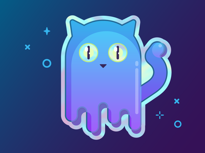 Holographic Ghost Cat adobe illustrator vector illustration sticker holographic cat ghost
