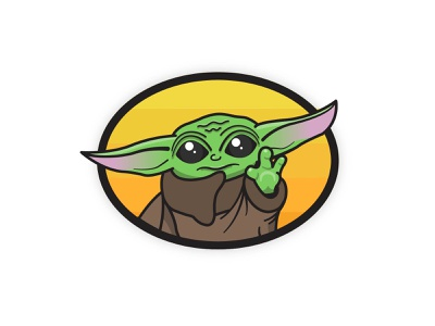 Baby Yoda adobe illustrator illustrator vector badge baby yoda cartoon sticker charm illustration star wars yoda