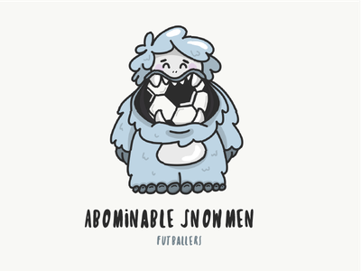 Abominable Snowmen Mascot snow adobe draw vector ipad illustration character cute grey monster yet soccer futball mascot