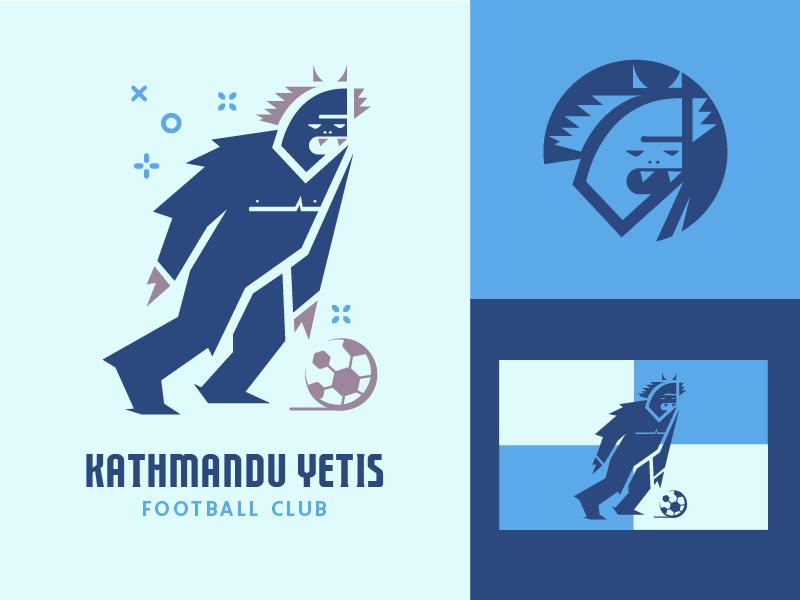 Fictional Football Club logo badge branding vector character monster yeti blue sports football soccer illustration flat