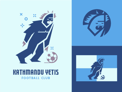 Fictional Football Club logo badge branding vector character monster yeti blue sports football soccer illustration flat