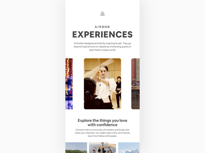 Airbnb Experiences animated people email marketing email design