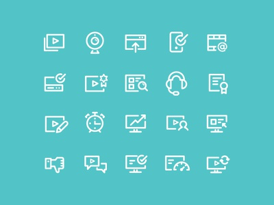 Icon set for VideoGenie minimal cute website icon video chart white phone simple clock outline iconography