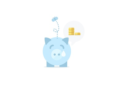 Piggy Bank illustration vector pig bank money sad butterfly