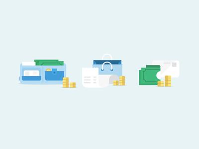 Shopping illustration vector bank money wallet bag shopping card coins invoice.