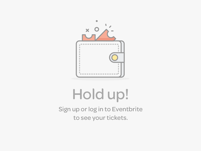 Saved Tickets Logged Out wallet ticket error icon illustration eventbrite
