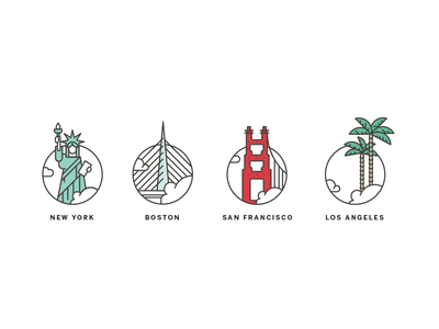 City illustrations bridge los angeles sf boston nyc palms icons city