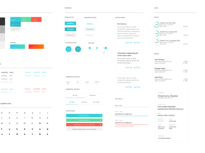 Organizer UI Styleguide system buttons elements typography android app icons gradient colors eventbrite ui styleguide