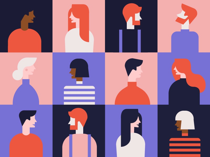 People human colors faces vector design icons illustration