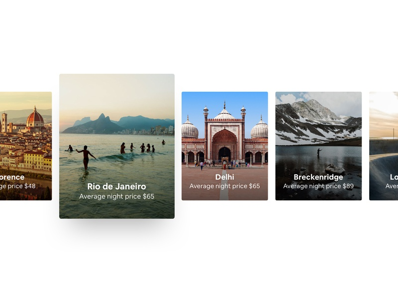 Airbnb Destination Cards components traveling images photos inspiration travel destinations cards card design