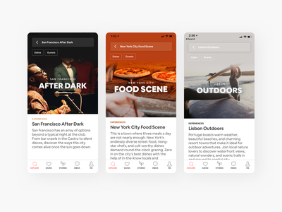 Airbnb Experiences · City Collections editorial native mobile airbnb travel city images photos icons