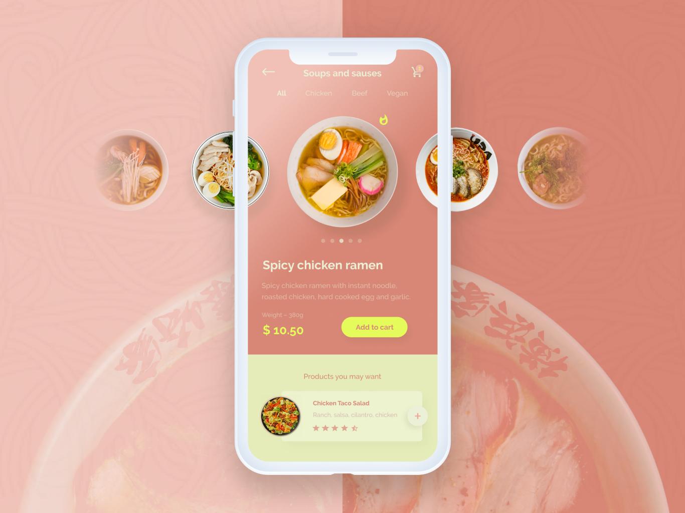 Resto app. noodle ui ux design design ramen app restourant