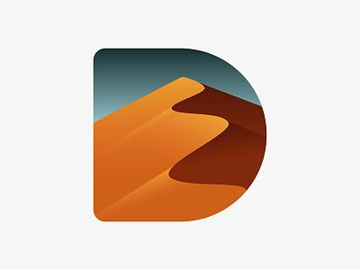 D for Dunes / Desert dunes landscape sky art gold desert 36daysoftype letter d typography type 36days