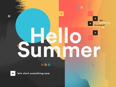 Hello Summer presentation ux ui quote motivation layout card logo design art summer hello
