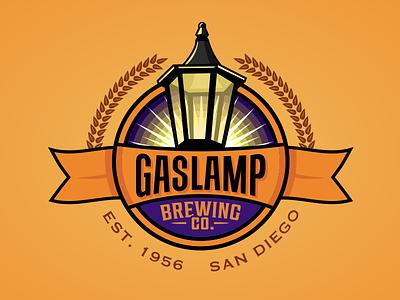 Gaslamp #2 brewery flat branding logo typography icon 2d