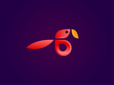 Red Parrot logo flat  design marano parrot red 2d vector design icon logo flat