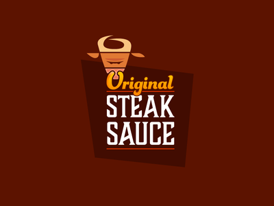 Original Steak Sauce original branding bull typography steak design vector 2d logo flat