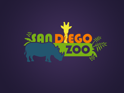 San Diego Zoo illustration vector branding typography design logo 2d flat