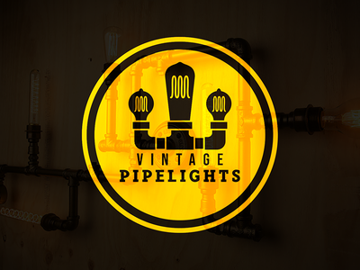 Vintage Pipe Lights lightbulb pipe illustration vector branding typography design logo flat 2d