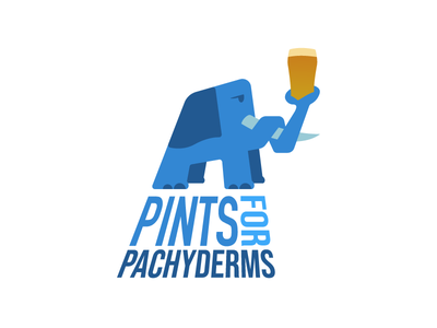 Pints for Pachyderms charity elephant pachyderm branding illustration vector design logo 2d flat