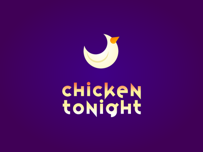 Chicken Tonight typography 2d moon chicken vector flat logo