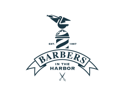Barbers in the Harbor harbor barbershop pelican design typography vector flat 2d logo
