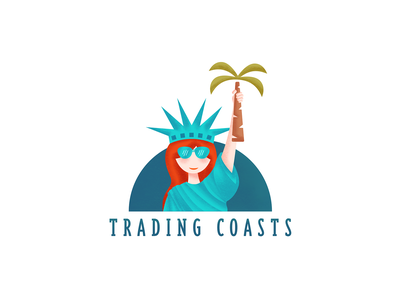 Trading Coasts blog logo 2d logo flat coasts statue of liberty blog