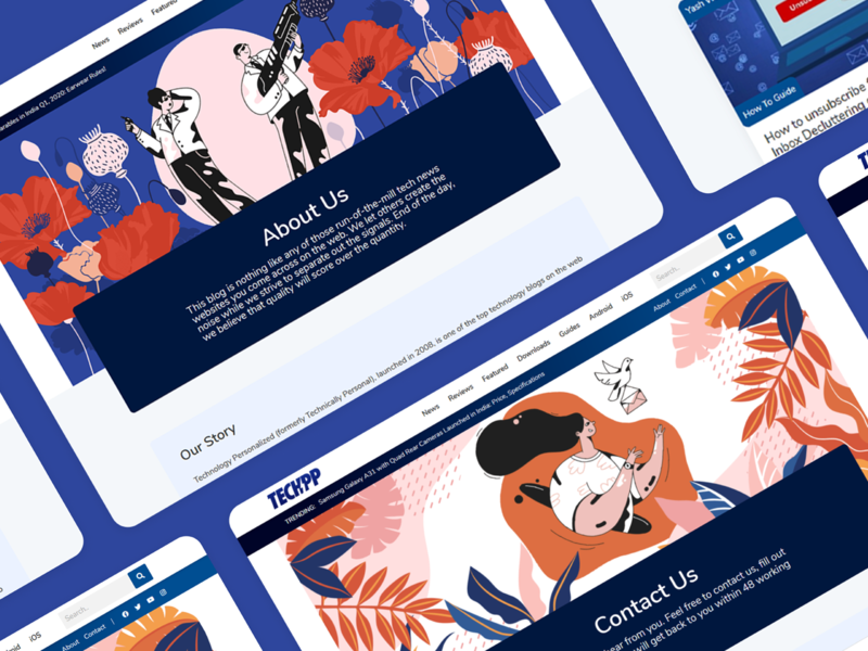 TechPP About & Contact Us redesign live branding illustration web design ui design blog