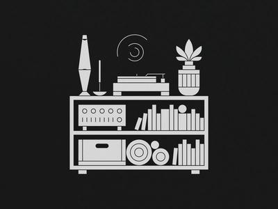 4AM joelehuquet animation plant recordplayer incense lavalamp illustration