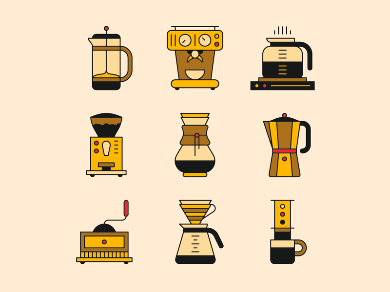 coffee family ☕️ espresso aeropress dripcoffee v60 chemex family coffee icons illustration