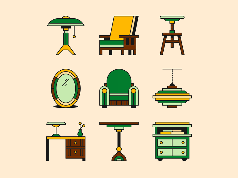 1920s furniture desk mirror stool lamp chair furniture icons illustration