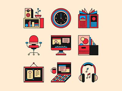 studio relics 🌚 magazine computer laptop chair icon relics office studio icons illustration