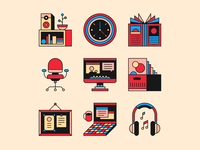 studio relics 🌚 magazine computer laptop chair icon relics office studio icons illustration