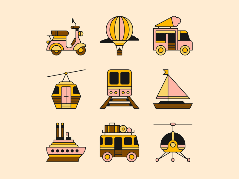favored forms of travel 🧳 sail train scooter minivan helicopter boat icon travel design icons illustration
