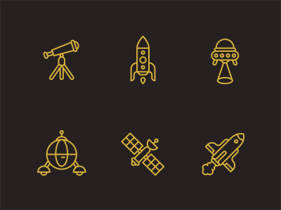 Space. icons illustrations
