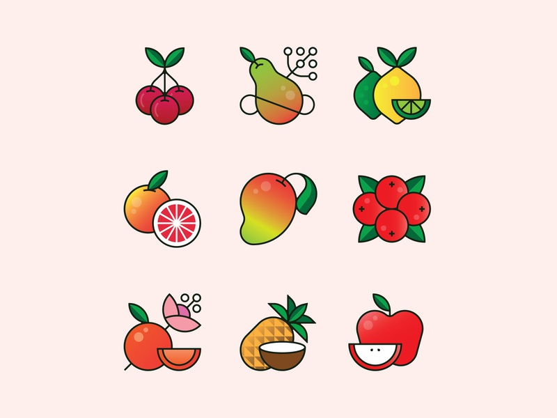 flavours fruit illustration flavour pineapple berries mango grapefruit lemon pear cherries fruit icons illustration
