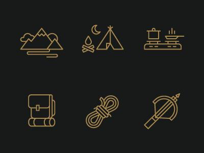 Hiking Icons icons illustration