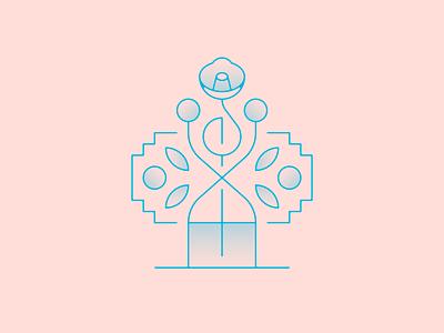 🌸 geometry dots vase flower vector illustration