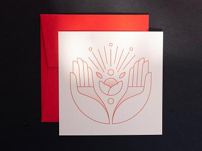 Birthcard Marie red hands colorplan birthcard birth illustration