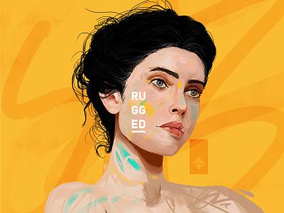 Velours paint portrait street art ink digital painting sketch design colorful graphic illustration
