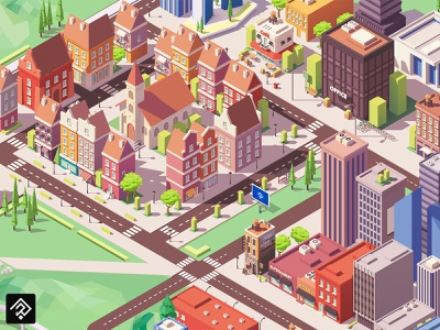 Isometric Map flatdesign flat isometry city 2d map isometric colorful illustrator illustration graphic