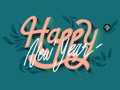 Happy New Year ! typographie lettering letter typography typo vector poster design colorful sketch illustrator illustration graphic
