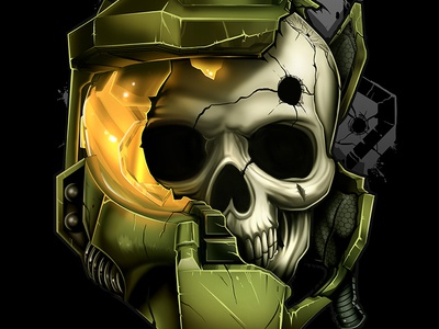 Fallen Spartan  video games master chief skull xbox halo