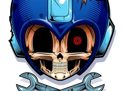 Mega Dead 8 bit video game skull nintendo megaman