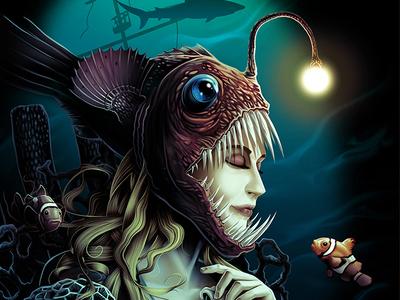 At The Bottom ocean deep illustration fantasy shark anglerfish clown fish mermaid
