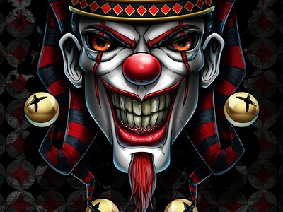 Clowning Around sppoky scary low brow tattoo airbrush clown apparel