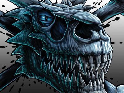 Dragon Skulls print fantasy art fantasy painting airbrush illustration dragons clip studio paint photoshop
